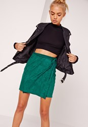 Missguided Faux Suede Wrap Around Mini Skirt Green Green