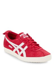 Asics Mexico Unisex Lace Up Sneakers Red And White