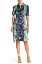 Anna Sui Gone Fishing Silk Stand Up Collar Dress Multi