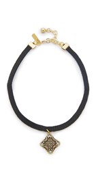Vanessa Mooney Black Leather Choker With Charm Black Brass