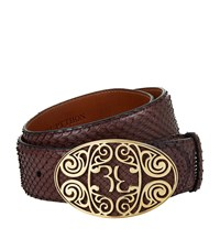 Billionaire Filigree Buckle Python Belt Unisex Burgundy