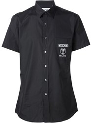 Moschino Logo Patch Pocket Shirt Black