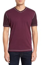 Men's Agave 'Rubicon' V Neck Baseball T Shirt Prune Purple
