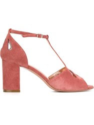 Jean Michel Cazabat T Bar Strap Sandals Pink And Purple