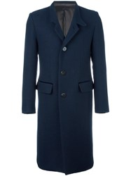 Umit Benan Notched Lapel Mid Length Coat Blue
