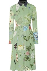 Gucci Floral Print Crepe Shirt Dress Light Green