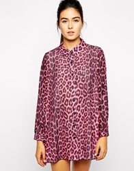 Love Shirt Dress In Pink Leopard Print Pinkleopard