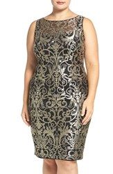 Adrianna Papell Plus Size Women's Metallic Lace Sheath Dress