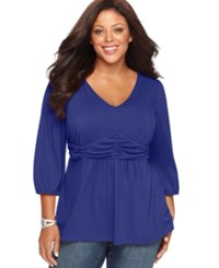 Ny Collection Plus Size Three Quarter Sleeve Ruched Empire Waist Top Med Blue