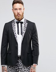 Religion Skinny Blazer With Leopard Lapel Black