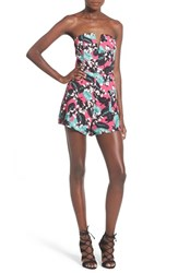 Women's Nbd 'Ride Or Die' Strapless Romper Pink Tropical