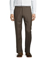 Neiman Marcus 15 Doors Wool Straight Leg Trousers Chestnut Shark