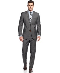 Andrew Marc New York Marc New York By Andrew Marc Grey Sharkskin Trim Fit Suit