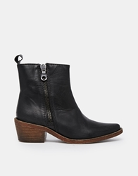 Gardenia Leather Flat Boots With Side Zip Vulcanoblack