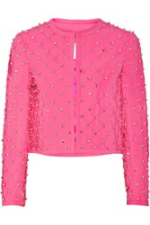 Moschino Embellished Quilted Crepe Jacket Pink