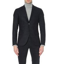 Tiger Of Sweden Checked Stretch Wool Jacket Sky