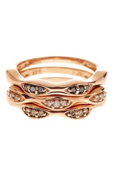 Savvy Cie 14K Rose Gold Plated Sterling Silver Black Champagne And White Diamond Stack Ring Set 0.25 Ctw Metallic
