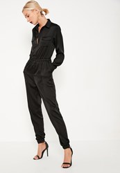 Missguided Black Embroidered Back Satin Shirt Jumpsuit