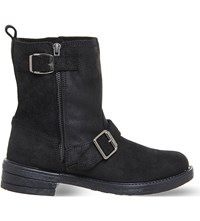 Office Lilo Buckle Biker Boots Black Suede