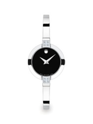 Movado Bela Diamond And Stainless Steel Bangle Bracelet Watch Silver Black