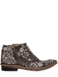 We Are...The Original Embroidered Linen Canvas Ankle Boots Washed Brown