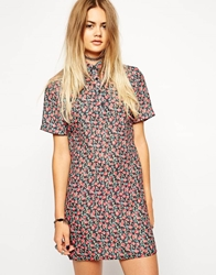Asos Reclaimed Vintage Bunch Pink Floral Polo Dress Multi
