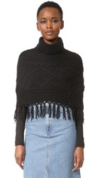 Tse Cashmere Claudia Schiffer X Cable Capelet With Fringe Black