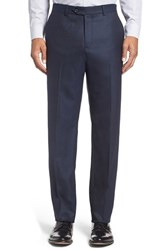 Nordstrom Men's Men's Shop Flat Front Solid Wool Trousers Navy