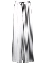 Mcq By Alexander Mcqueen White Striped Jersey Trousers Black And White