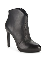 Ash Leather Round Toe Ankle Boots Black