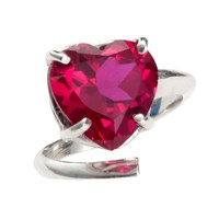 Bijules Heart Cocktail Ring Red Silver