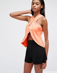 Lavish Alice Wrap Over Top Coral Pink