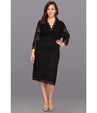Kiyonna Scalloped Boudoir Lace Dress Black Lace Black Lining Women's Dress
