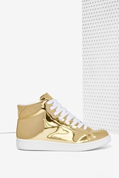 Nasty Gal Jc Play By Jeffrey Campbell Player High Top Sneaker Gold Mirror