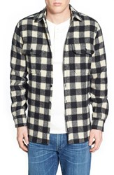 Men's Woolrich Buffalo Plaid Wool Blend Flannel Shirt White Black