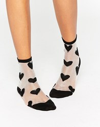 Monki Sheer Heart Printed Socks Black