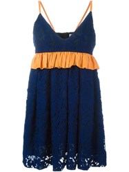 Msgm Crochet Dress Blue