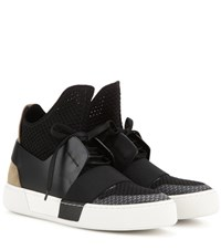 Balenciaga Fabric And Leather High Top Sneakers Black