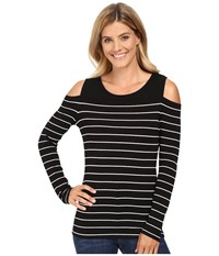 Vince Camuto Long Sleeve Willow Stripe Cold Shoulder Top Rich Black Women's Clothing