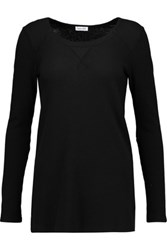 Splendid Waffle Knit Stretch Cotton And Modal Blend Top Black