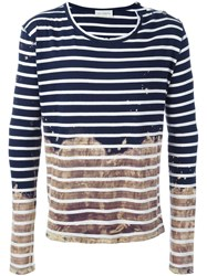 Faith Connexion Colour Block Striped Distressed Jumper Blue