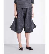 Issey Miyake Pleats Please Pata Pata Wide High Rise Pleated Trousers Grey