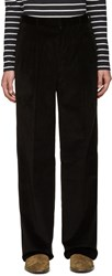 John Lawrence Sullivan Black Corduroy Wide Leg Trousers