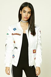 Forever 21 Emoji Patch Bomber Jacket White Red