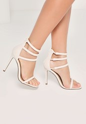 Missguided White Four Strap Barely There Heeled Sandals
