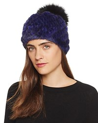 Jocelyn Mink Fur Beanie With Fox Fur Pom Pom 100 Bloomingdale's Exclusive Blue Black