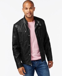 Kenneth Cole Faux Leather Moto Marble Jacket
