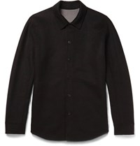 Theory Paytin Double Faced Virgin Wool And Cashmere Blend Overshirt Black