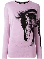 Fausto Puglisi Horse Pattern Jumper Pink And Purple