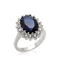 Michela Oval Faux Sapphire Ring With Cubic Zirconia Sapphrire